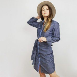 Brooks Brother Chambray Button Front Tie Dress